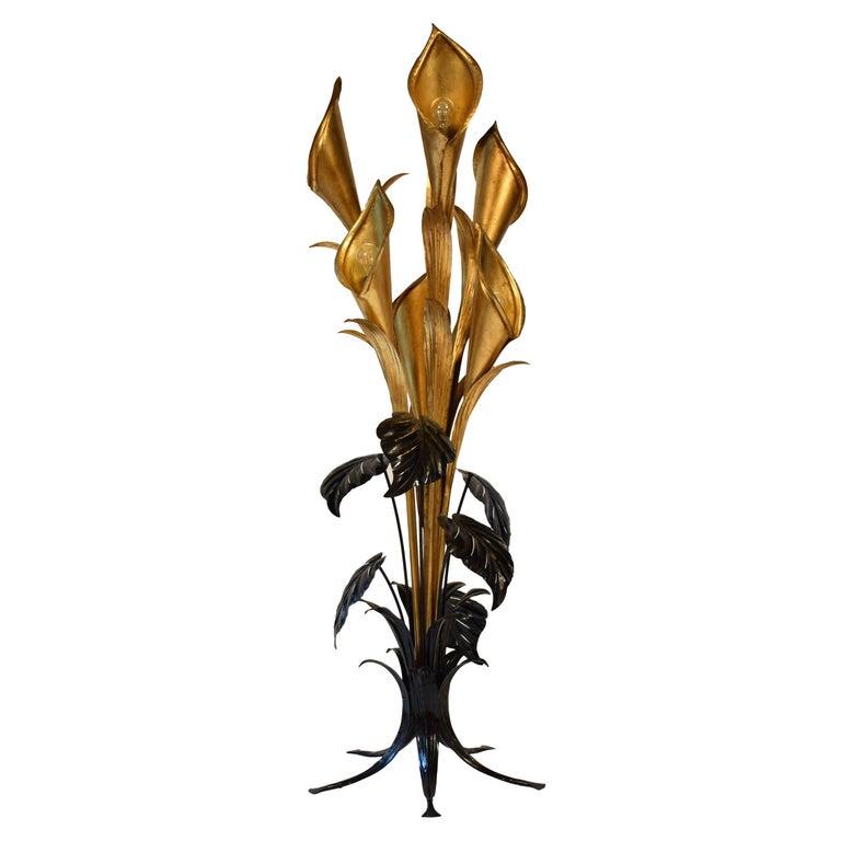 Midcentury Floor Lamp by Hans Kögl with Huge Tropical Flowers