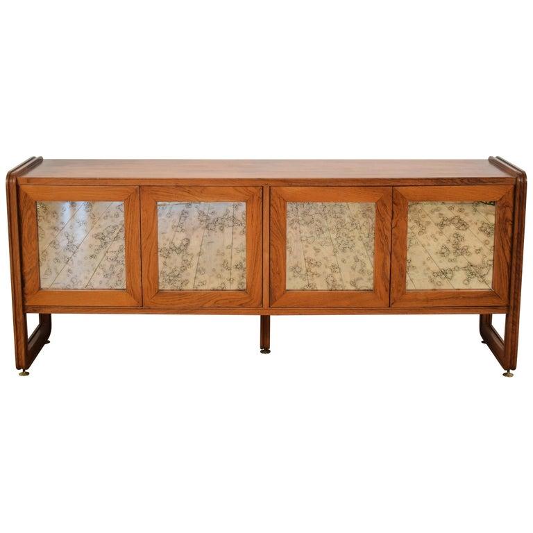 Midcentury Italian Sideboard with Mirror Doors, circa 1960s