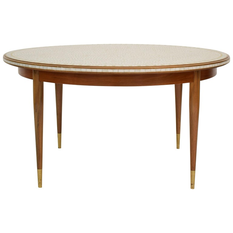 Mid-Century Round Mosaic Coffee Table by Berthold Müller, 1960s