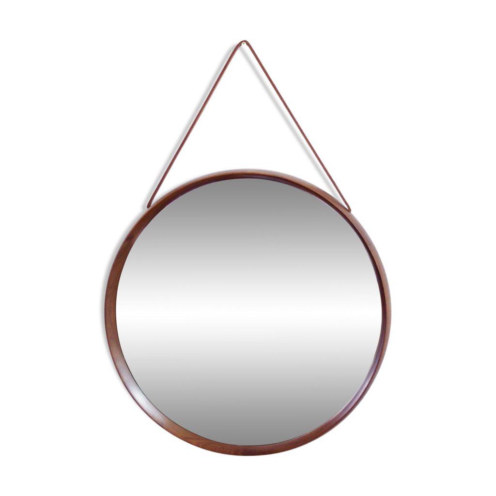 Round Teak Mirror by Uno & Östen Kristiansson
