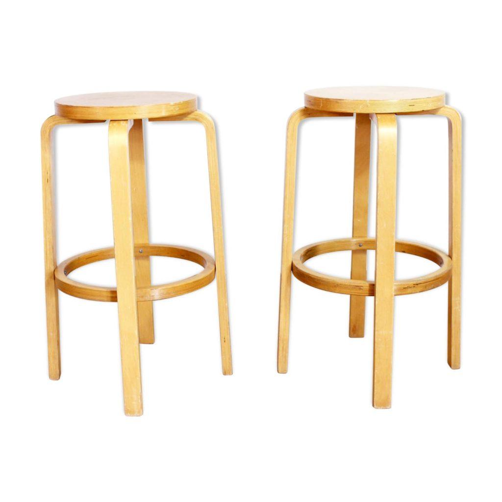 Pair of vintage stools in solid wood