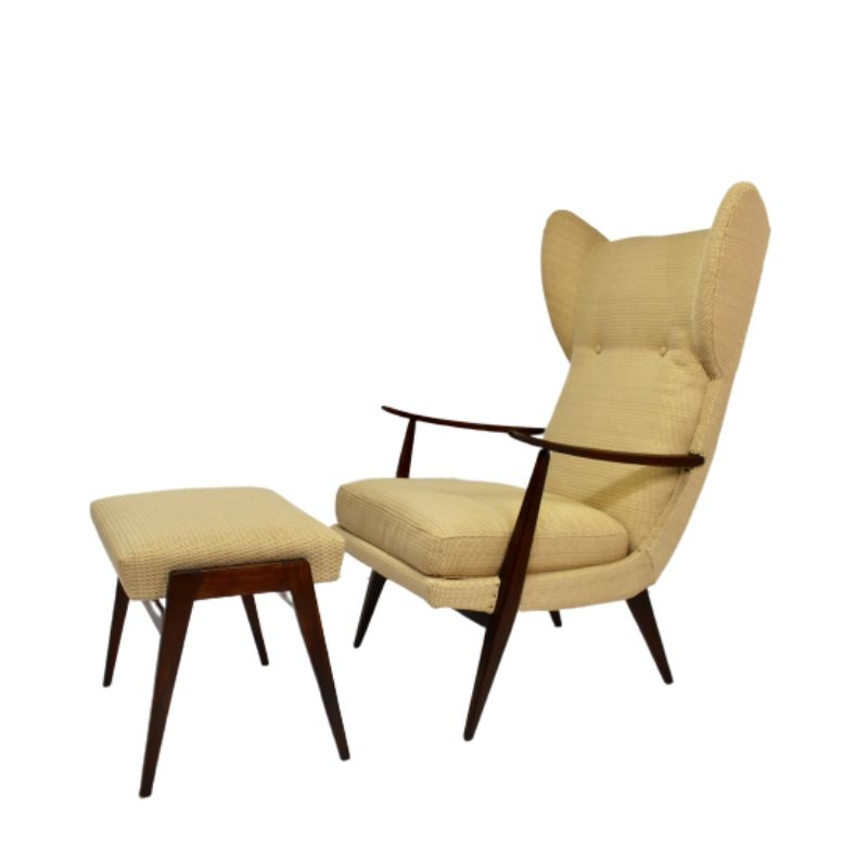 Wing chair with Ottoman by Walter Knoll Editions Knoll Antimott