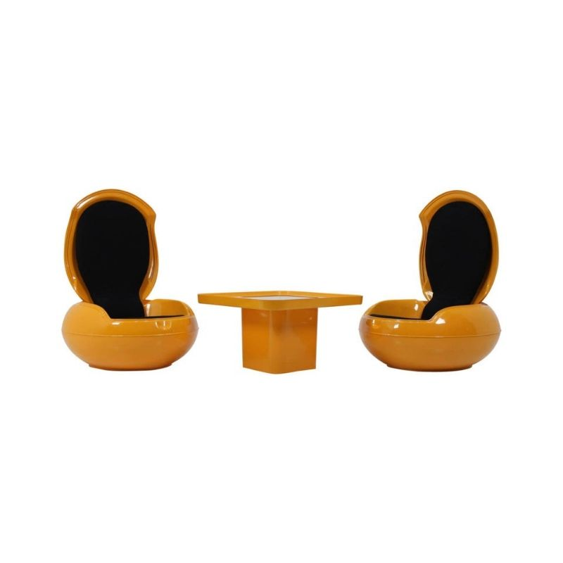 "Set of Rare""Garden Egg"" Chairs & Table, Peter Ghyczy, 1968"