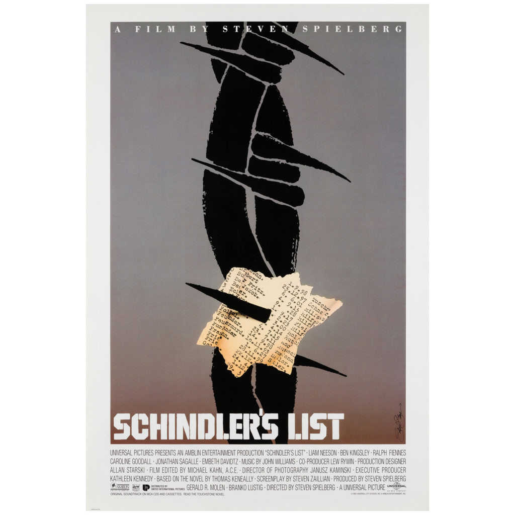 Schindler's List 1993 Saul Bass US Special Film/Movie Poster