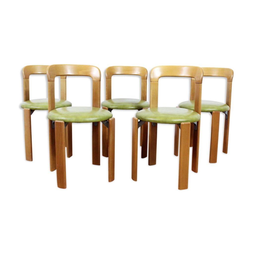 Set de 5 chaises Bruno Rey en bois et cuir vert