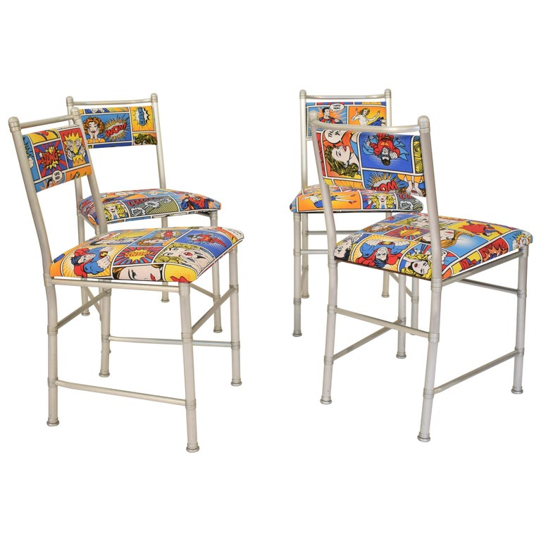 Set of Four Aluminium Dining Chairs by Warren McArthur with Pop Art Fabric Cover