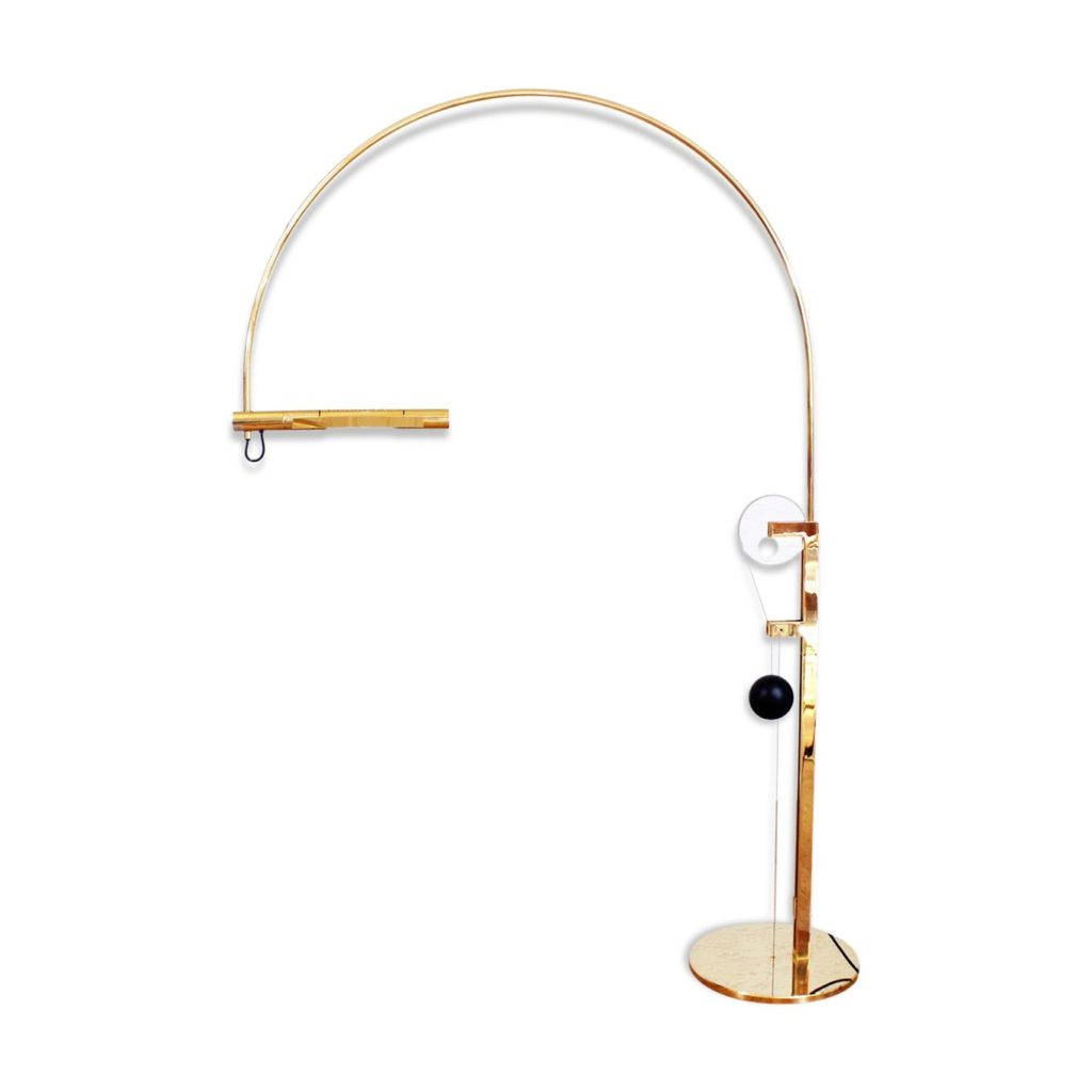 Adjustable Arco Floor Lamp by Rico & Rosmarie Baltensweiler, 1980s Model Halo Mobile Limited Edition Brass