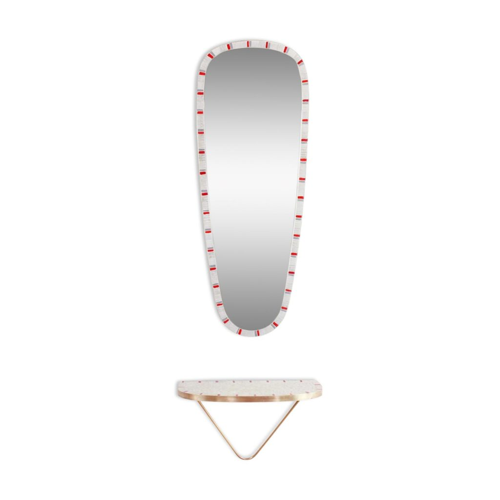 Mirror Set 94×36 Free Form with 60s Mosaic Console