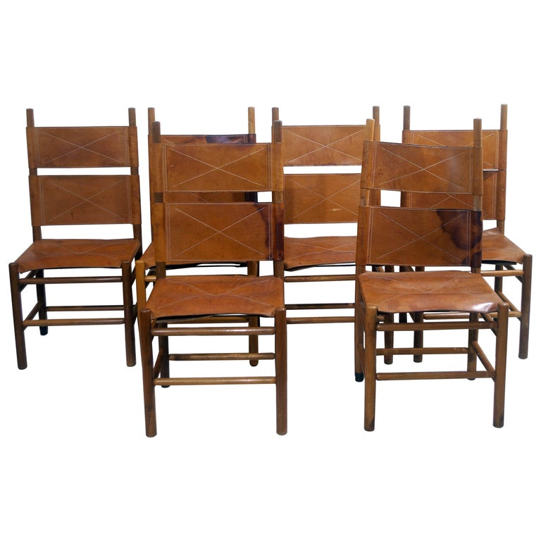 Set of Six Walnut and Cognac Leather Chairs