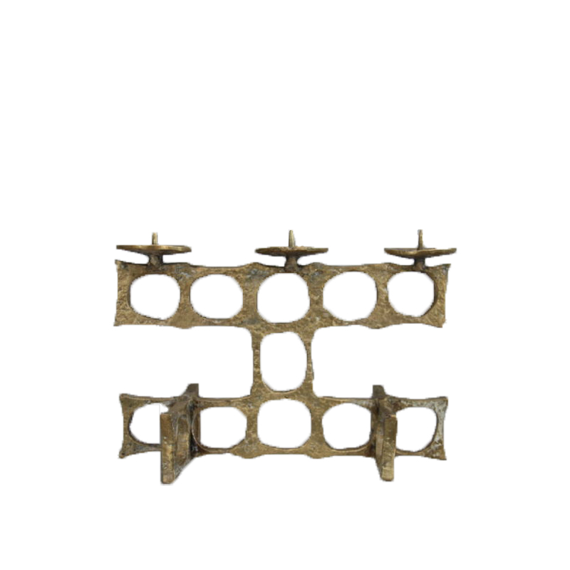 Brutalist bronze candelabra, golden color, geometric patterns – Produced in France – 1960's