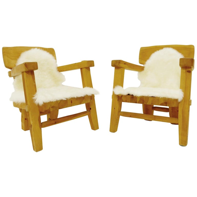 Pair of Solid Wood Armchairs