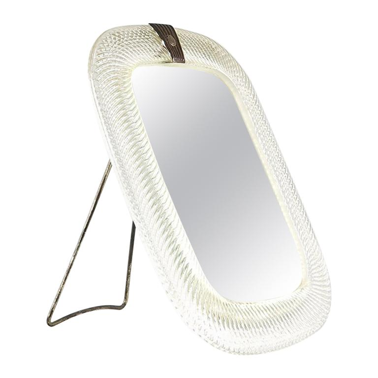 Very Rare Murano Wall Table Mirror Attributed to Venini