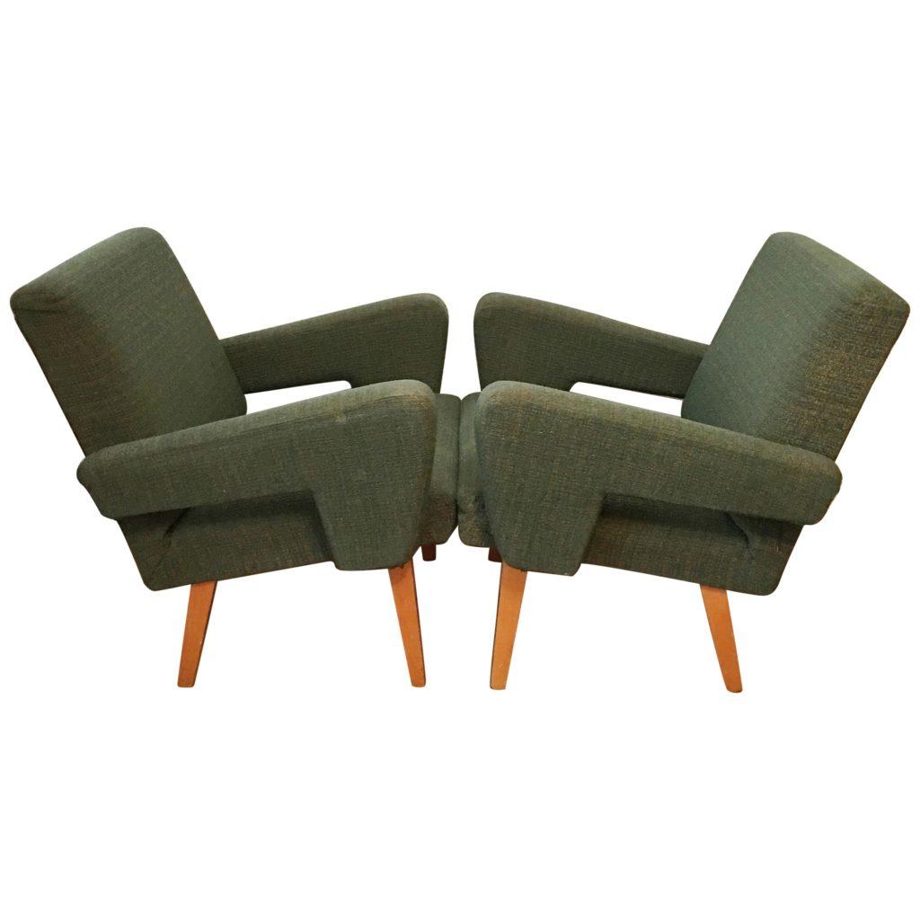 Green Vintage Rocket Armchairs by Jitona, 1960s, pair