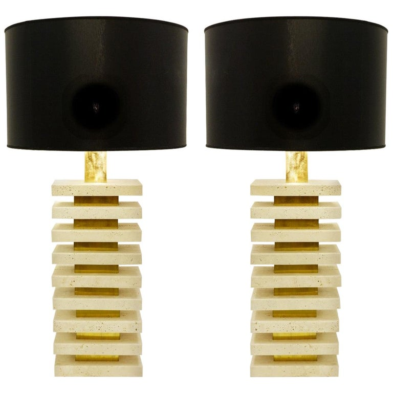 Pair of Italian travertine and brass table lamps