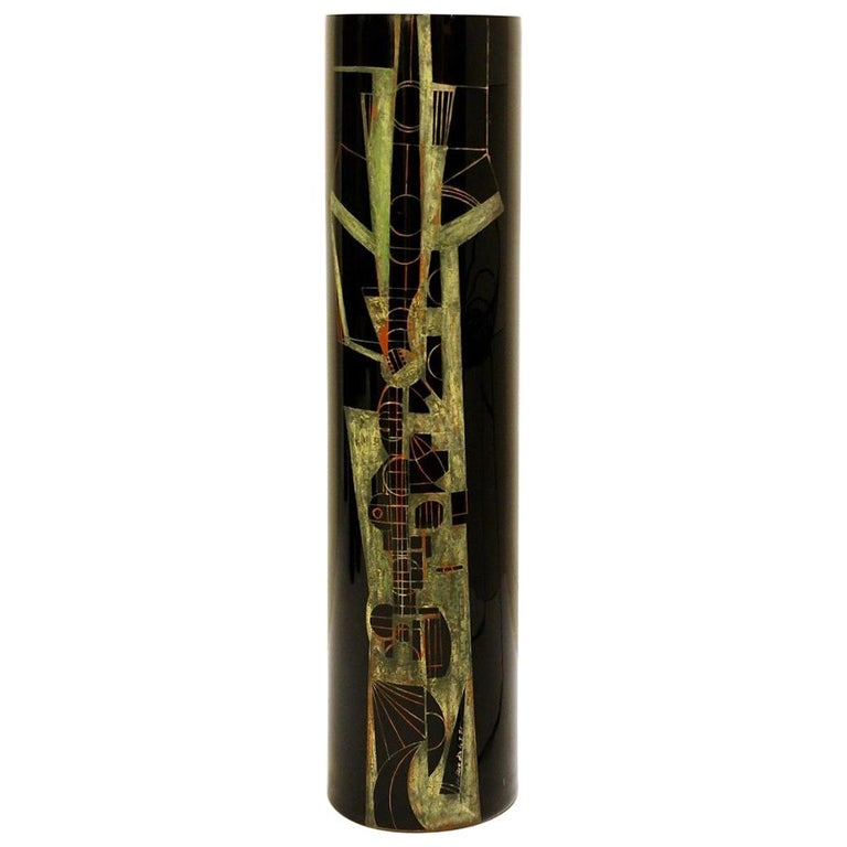 Cylindrical vase in black engraved glass, circa 1970