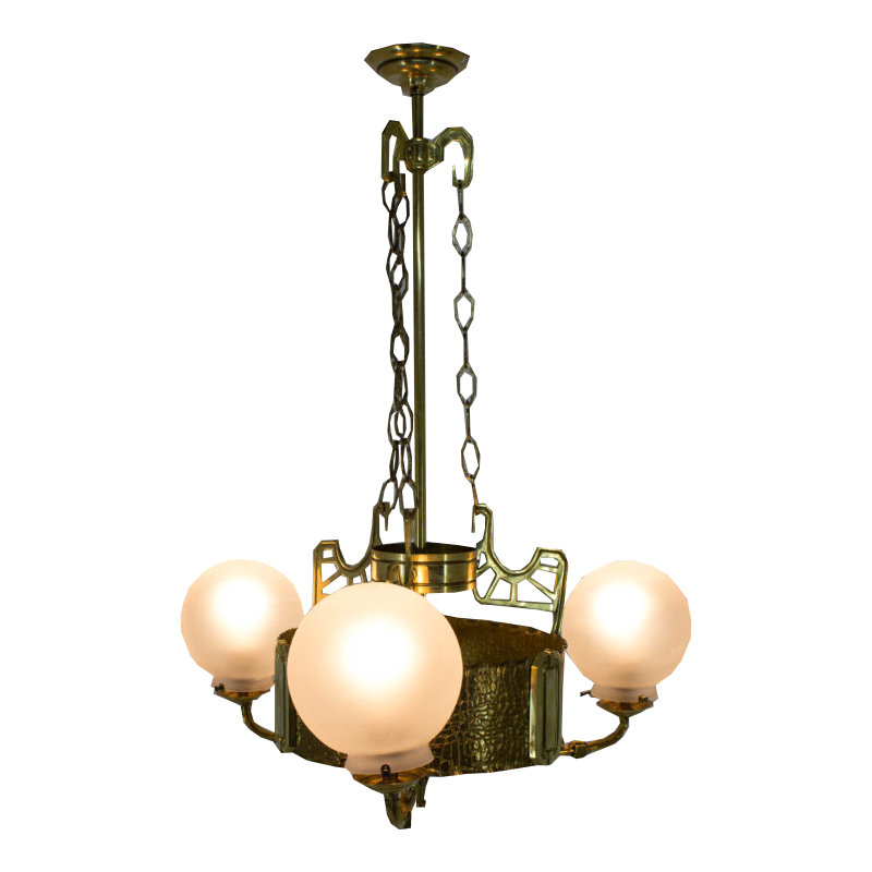 Art Nouveau Brass Chandelier, 1910s