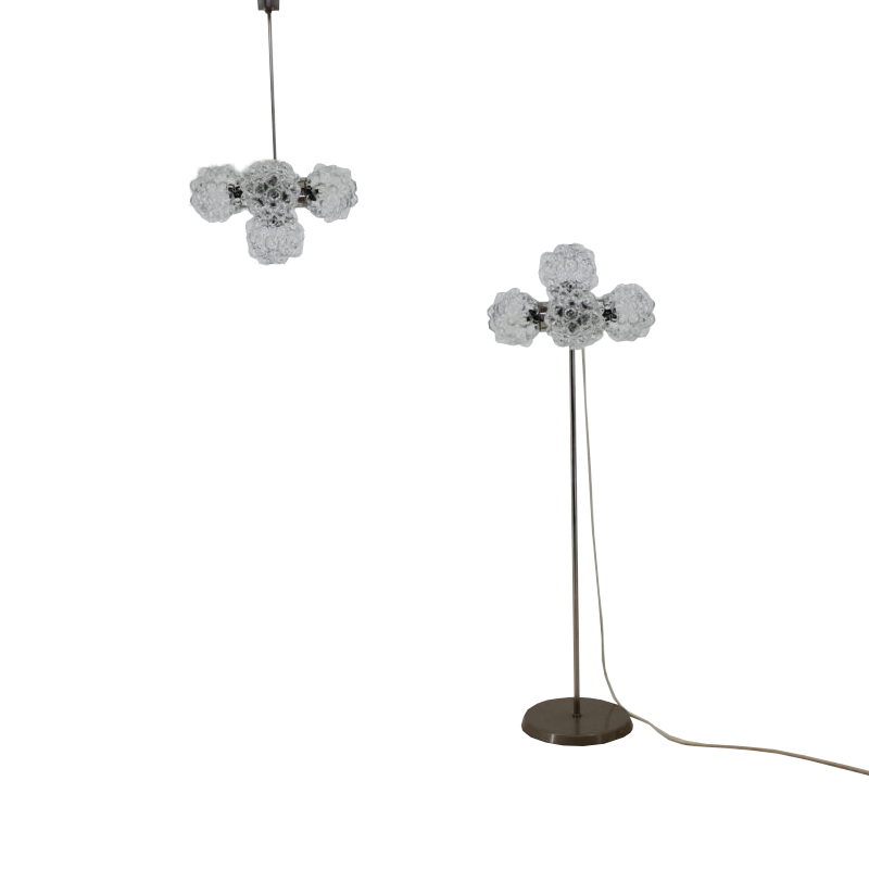 "Set of floor lamp and chandelier ""raspberry"", Kamenický Šenov, 1970"
