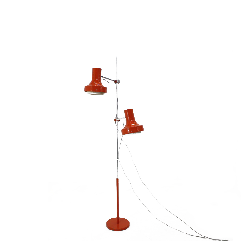 Mid-century red floor lamp, Napako, 1980