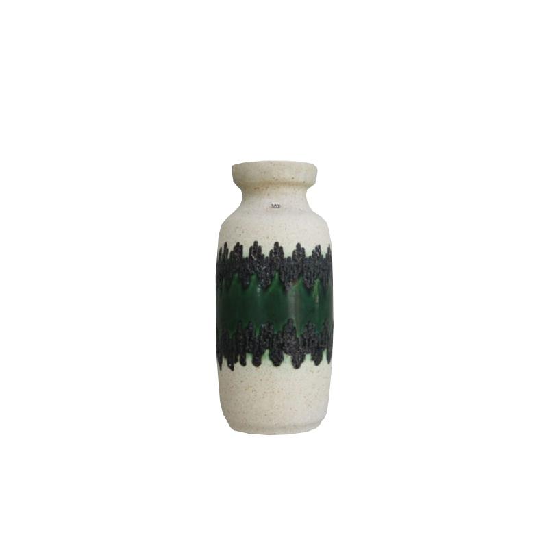 Ceramic vase from Bay Keramik – green & white colors – Germany – 1970's