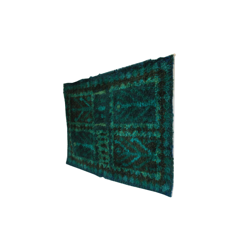 Handmade Rya carpet in blue & green tones – 100% wool – Produced in Sweden- 1960's