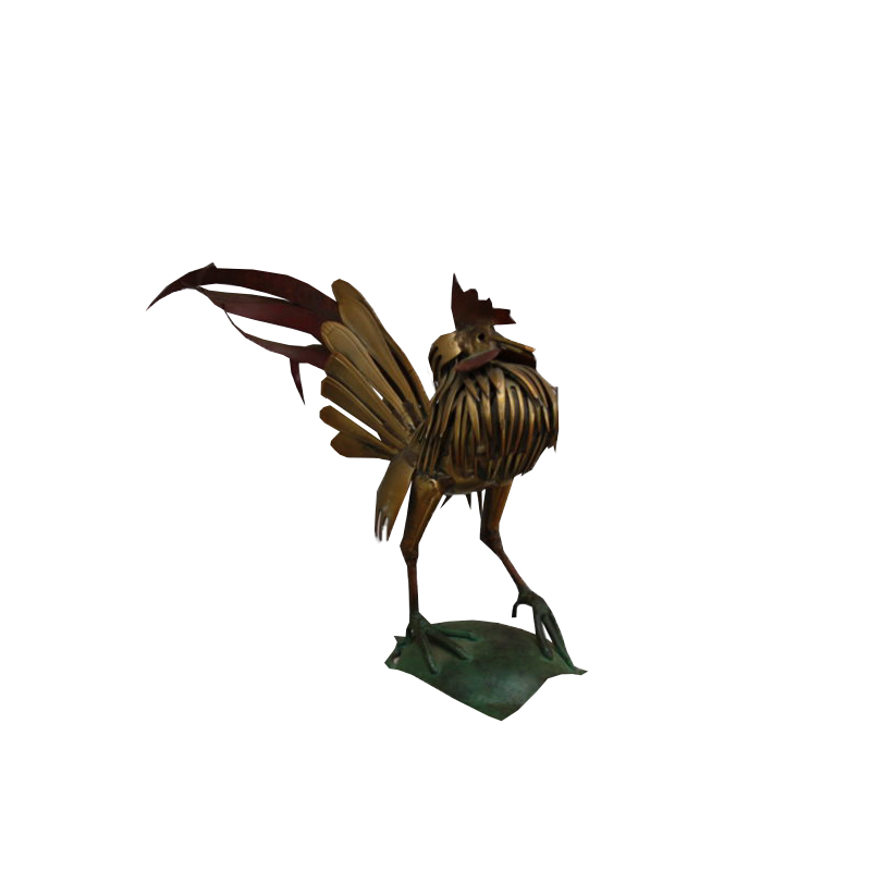 Hand crafted rooster, made of flatware (forks and spoons) – France 1960's
