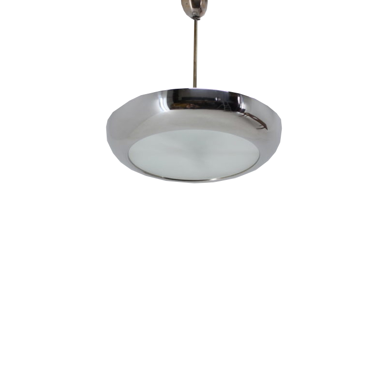 Bauhaus Chrome Pendant Lamp by Josef Hurka for Napako