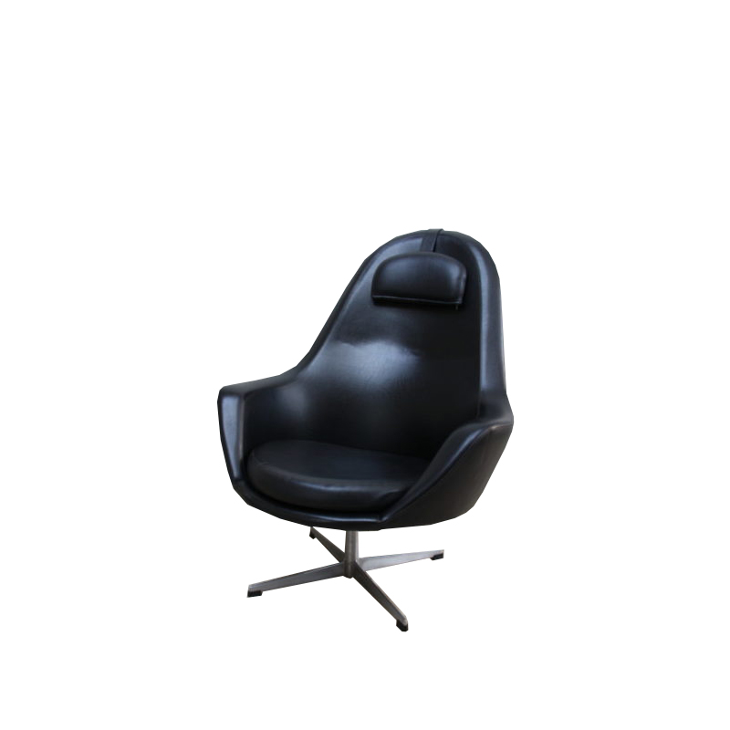 Swivel Lounge Chair in Black Leatherette – Pastoe – produced in the Netherlands – 1960's