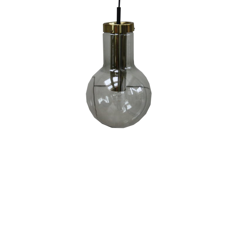 Pendant lamp of Raak in mouth-blown smoked glass with golden details – Produced in the Netherlands – '60's