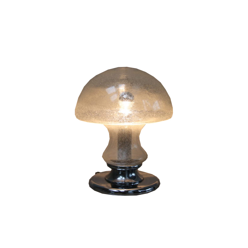 XL Mushroom Table Lamp in Glass and Chrome Plated Steel – Produced by Doria Leuchten – Germany – 1970's