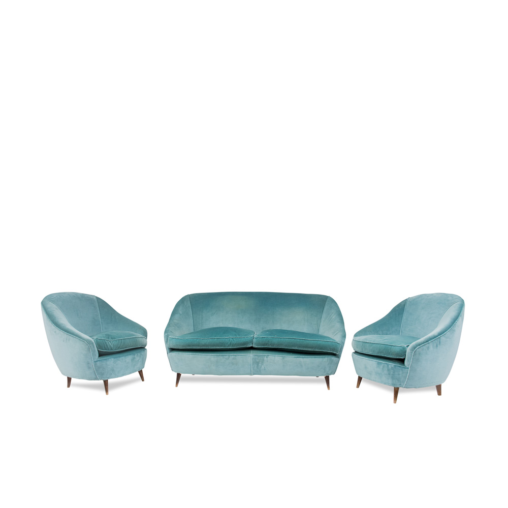 Set of pair of armchairs and sofa design attributed to Gio Ponti