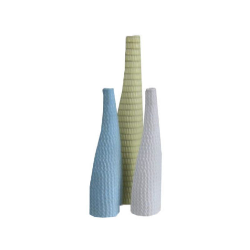 Set of 3 vases of the 'Reptile' serie White, light blue and yellow , designed and signed by Stig Lindberg – Produced by Gustavsberg – Sweden- 1953