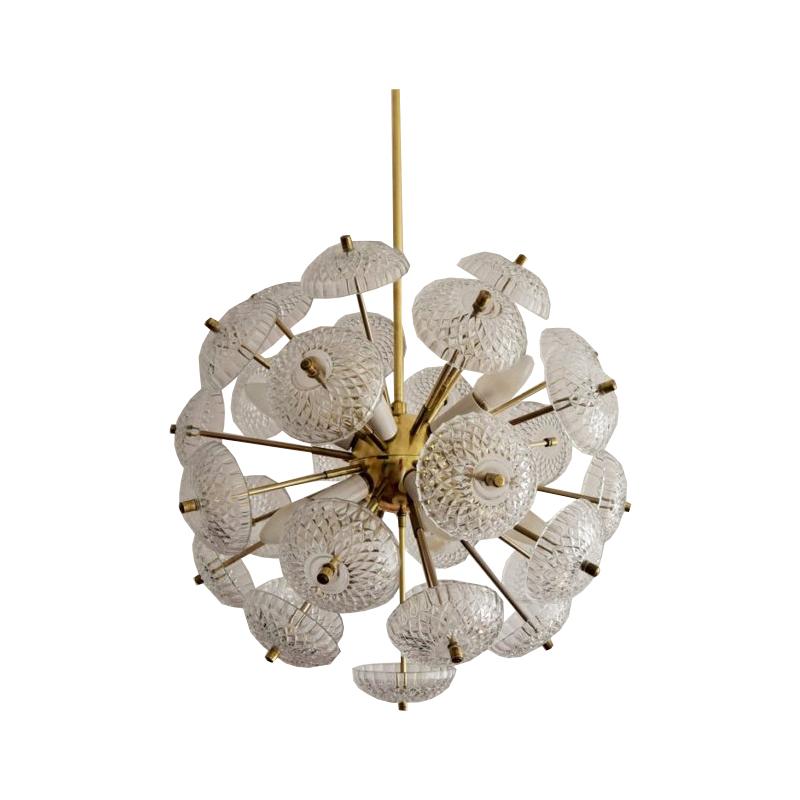 Kamenický Šenov Sputnik / Dandelion / Chandelier / Pendant, 1970s