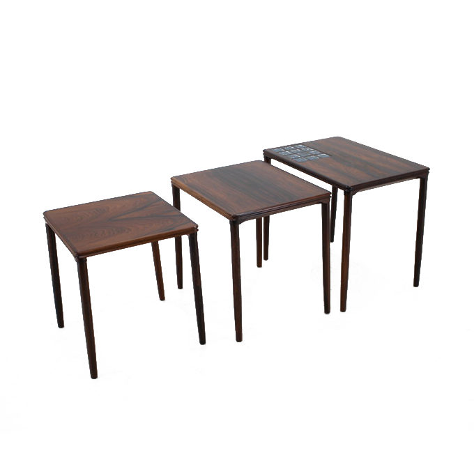 1960s Palisander and Tile Nesting Tables, Denmark