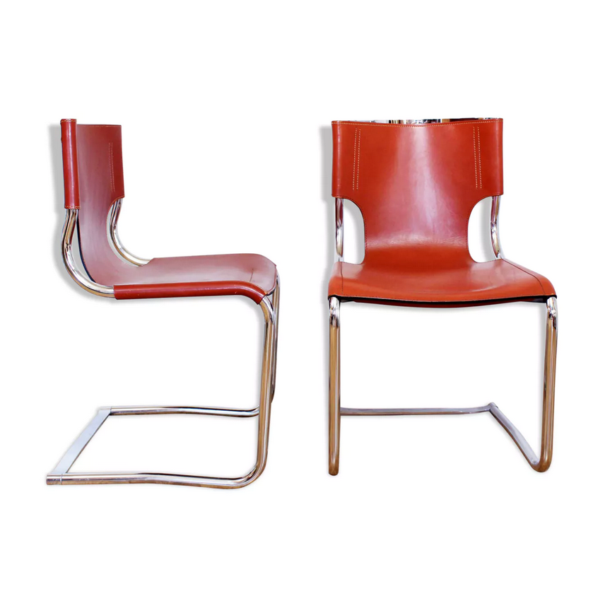 Italian Leather Chrome Cantilever