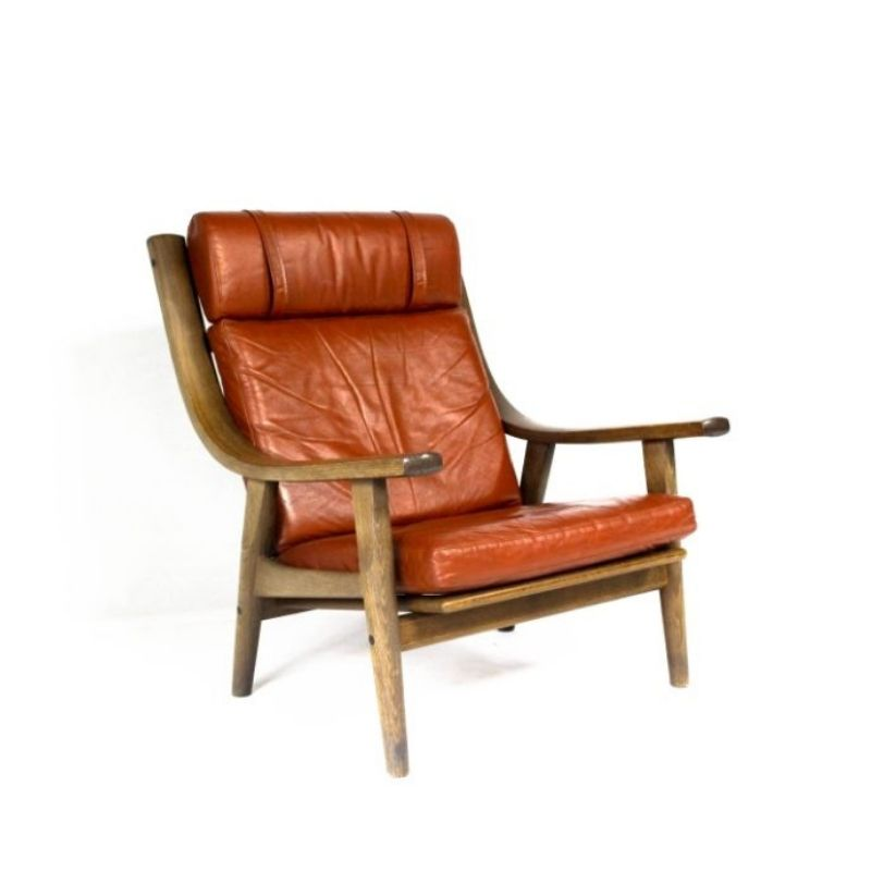 Mid-Century Danish Vintage Leather Lounge Armchair HANS J.WEGNER 1970s