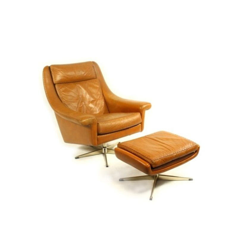 Vintage Danish Leather Swivel Chair with Ottoman by AAGE CHRISTIANSEN 1960s