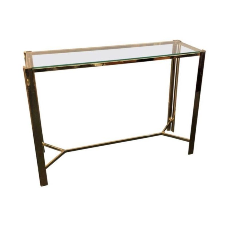 Mid-Century Modern Gilded Metal and glass Italian Console, circa 1960