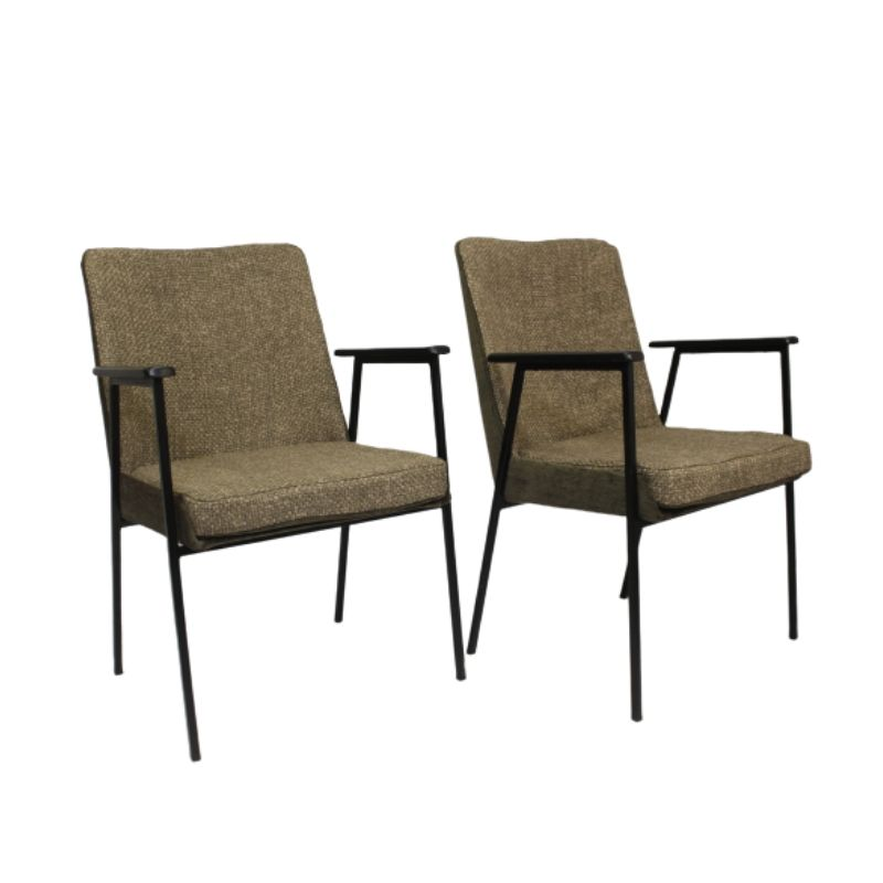 Pair of armchairs by Mauser, 1960 bis materials brown
