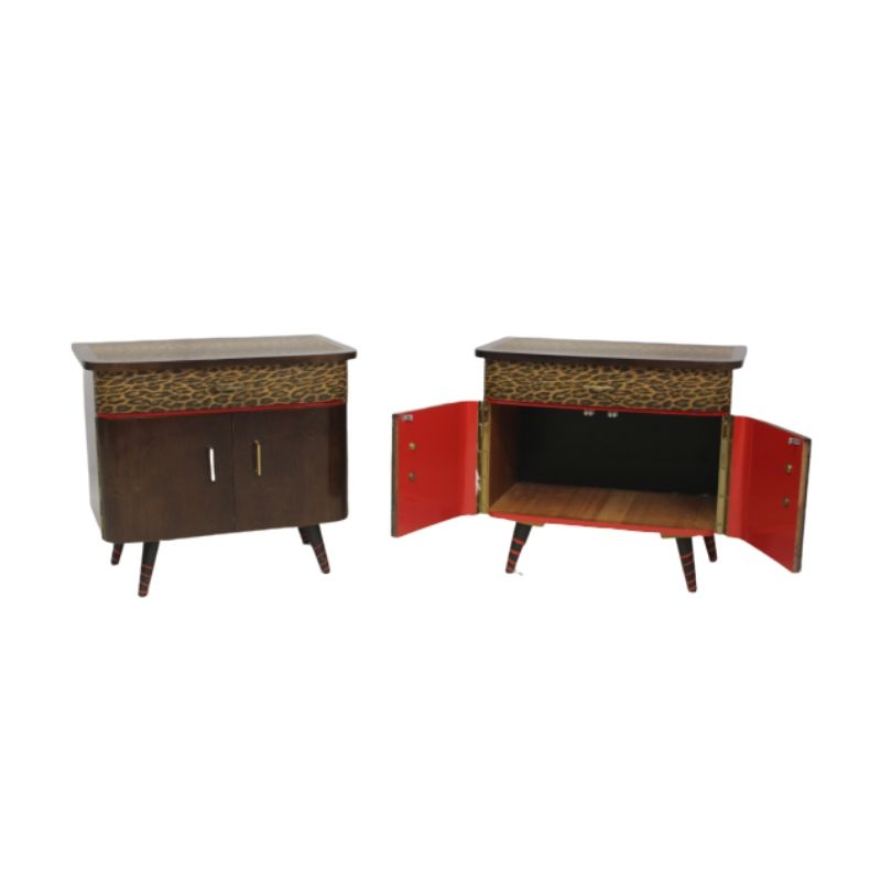 Pair of bedside tables 50s 60 restored