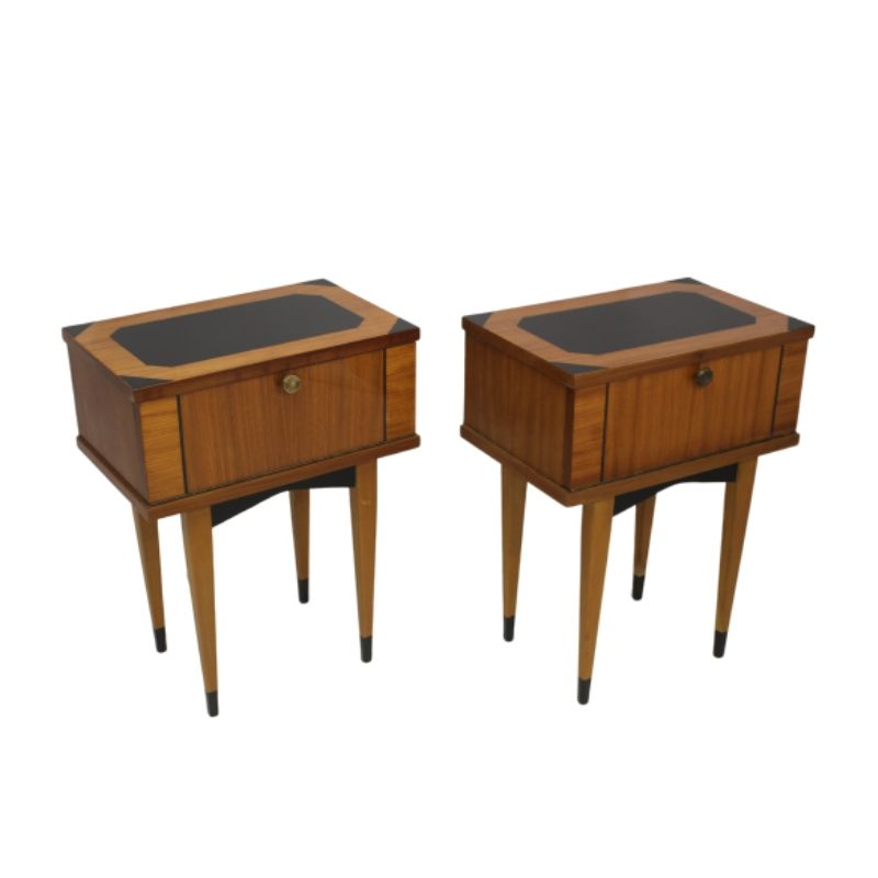 Pair of bedside tables vintage varnished wood year 50