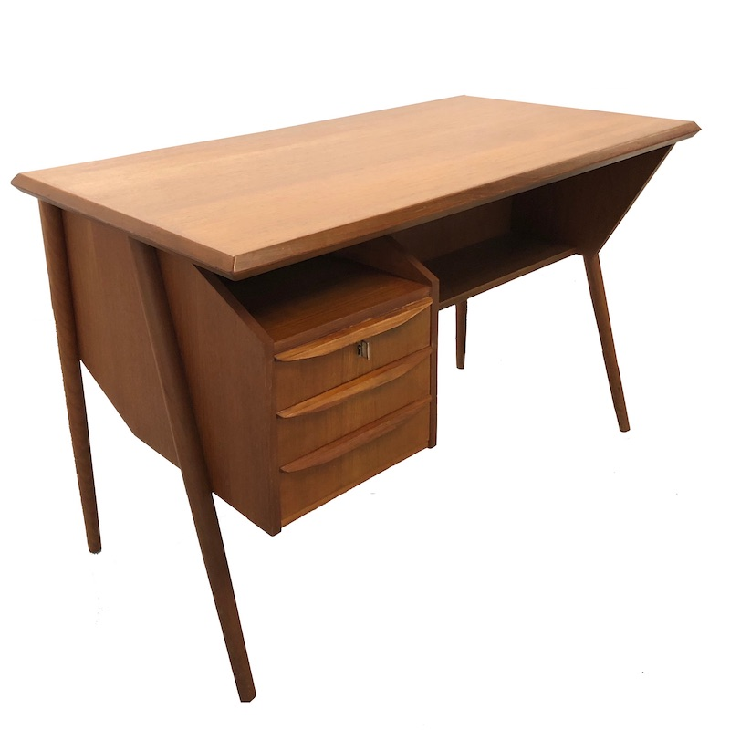 1960's Teak Desk designed by Gunnar Nielsen, manufactured by Tibergaard Denmark
