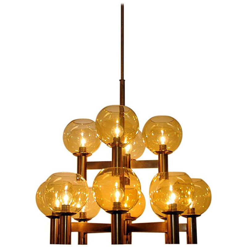 Big Vintage Ceiling Lamp of brass and glass 1960`s – Scandinavia