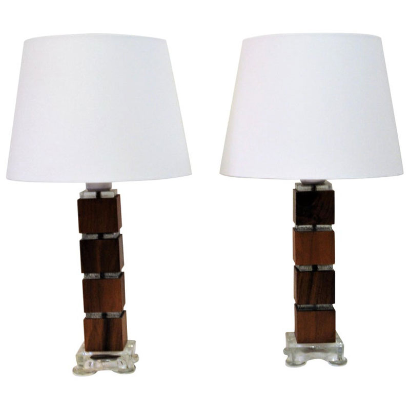 Vintage Swedish Wood & Glass Table Lamps, Set of 2