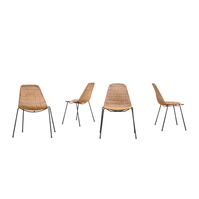 Set of 4 Rattan Dining Chairs by Gian Franco Legler