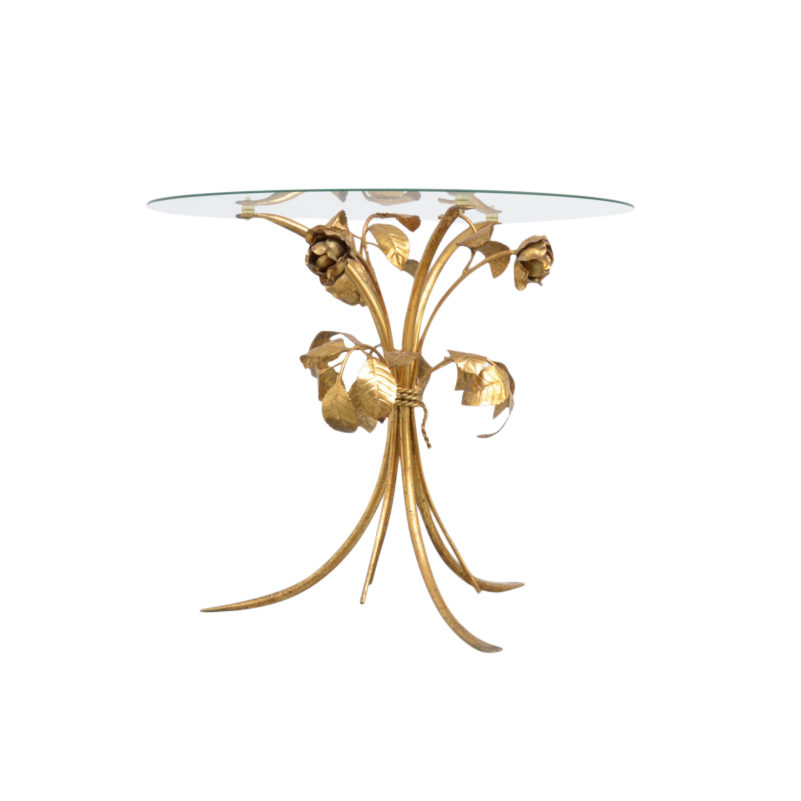 'Bouquet of Roses' Gilded Side Table
