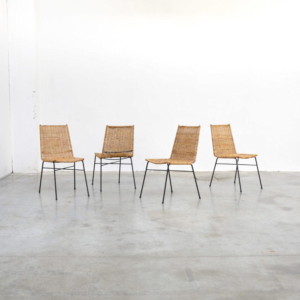 Set of 4 Italian Rattan Dining Chairs