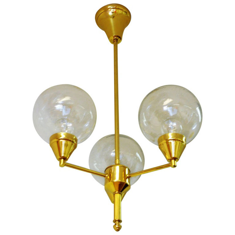 Brass Ceiling Lamp with Three Clear Glass Domes 1960`s – Sweden