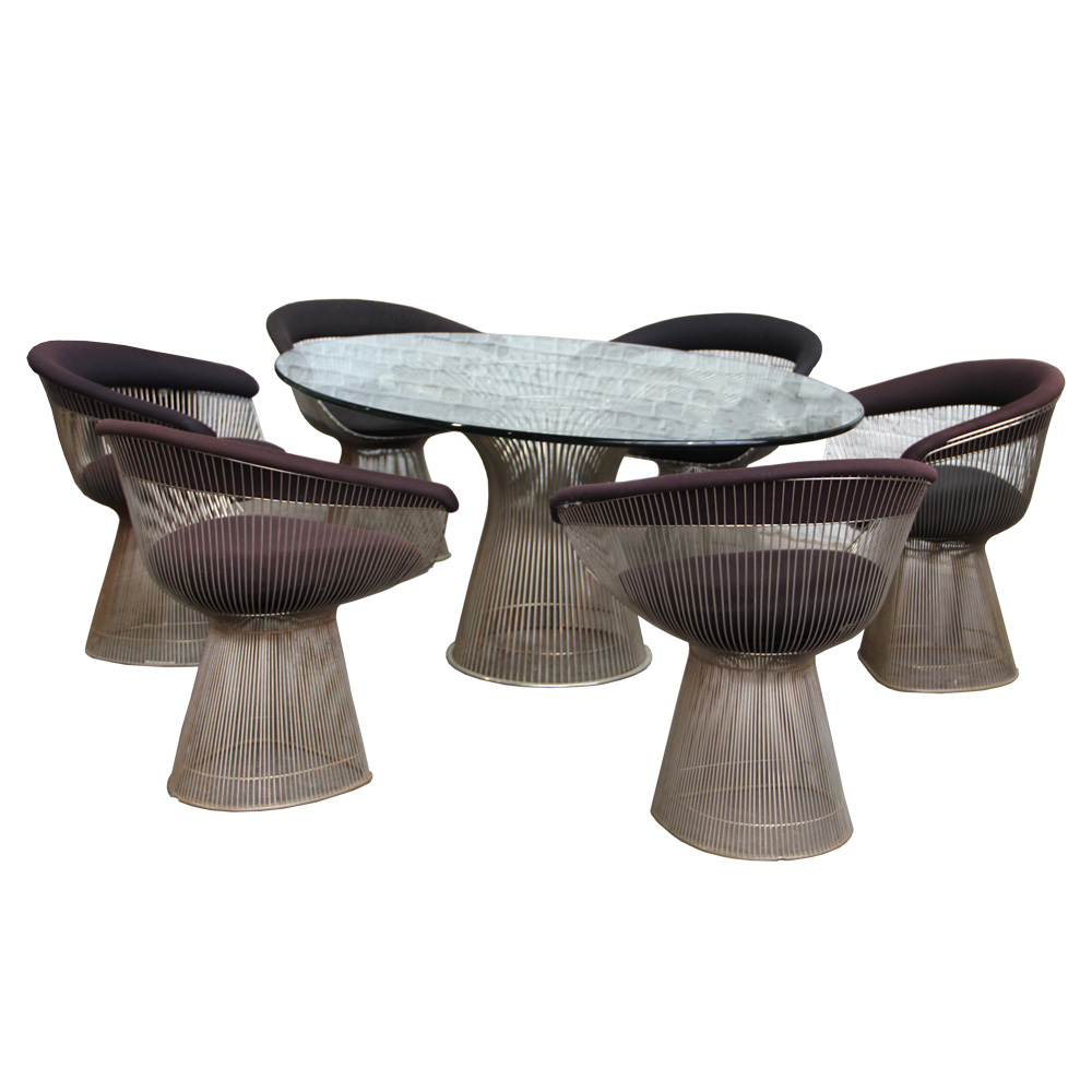 Platner Rare Oval Dining Table and Chairs for Knoll-1967