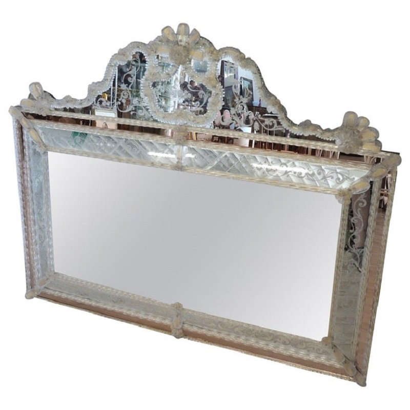 Vintage Large Italian Murano Glass Wall Mirror, 1930s