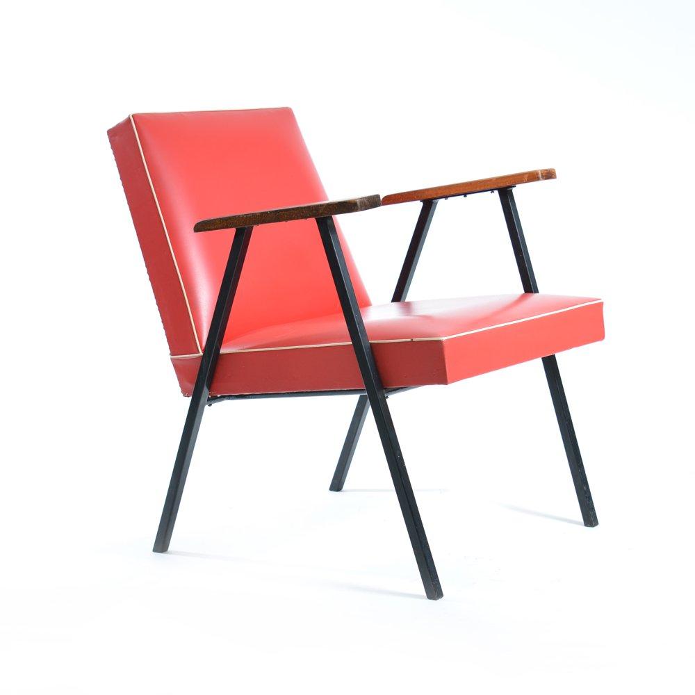 Red Leatherette Armchair, Czechoslovakia 1950s